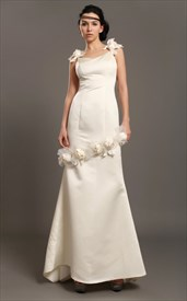 Ivory Sheath Satin V-Neck Wedding Dresses With Floral Embellishments