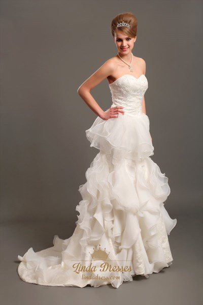 Show details for Ivory Sweetheart Lace Bodice Organza Wedding Dress With Ruffled Skirt