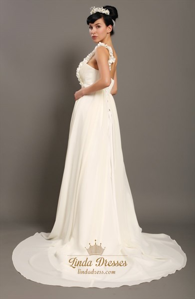 Ivory One Shoulder Flower Strap Slim A-Line Beach Wedding Dresses