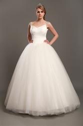 Elegant Ivory Ball Gown V-Neck Tulle Wedding Dresses With Beaded Straps