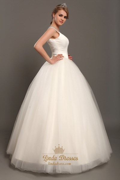 Elegant Ivory Ball Gown V-Neck Tulle Wedding Dresses With Beaded Straps
