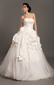 Ivory Taffeta Strapless Lace Embellishment Wedding Dress With Pick Ups