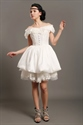 Show details for Ivory Taffeta Off The Shoulder Short Wedding Dress With Beaded Lace