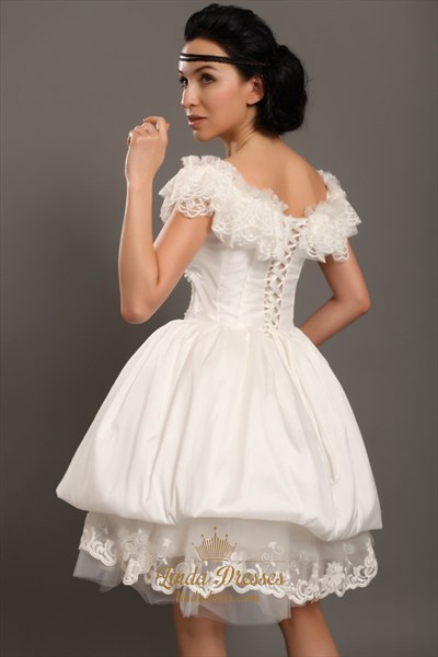 Ivory Taffeta Off The Shoulder Short Wedding Dress With Beaded Lace