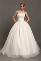 Show details for Ivory Strapless Organza Ball Gown Wedding Dresses With Beaded Bodice