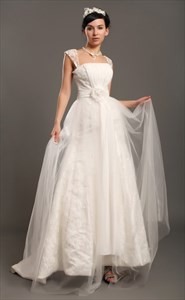Elegant Ivory Lace Straps A Line Wedding Dresses With Tulle Overlay