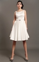 Show details for Ivory Satin Sleeveless Knee Length Wedding Dresses With Beading Crystal