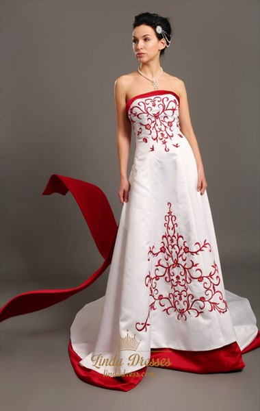 White A-Line Strapless Satin Wedding Dresses With Red Embroidery