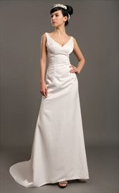 Ivory Satin V Neck Sleeveless Sheath Wedding Dresses With Beading
