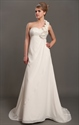 Ivory One Shoulder Flower Strap Draped Wedding Dress With Beaded Empire