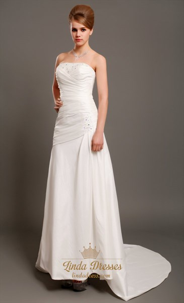 Ivory Taffeta Strapless Mermaid Wedding Dress With Beaded Lace Detail