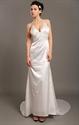 Ivory V Neck Satin Spaghetti Strap Beach Sheath Wedding Dress With Train