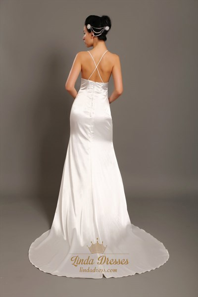 Ivory V Neck Satin Spaghetti Strap Beach Sheath Wedding Dress With Train