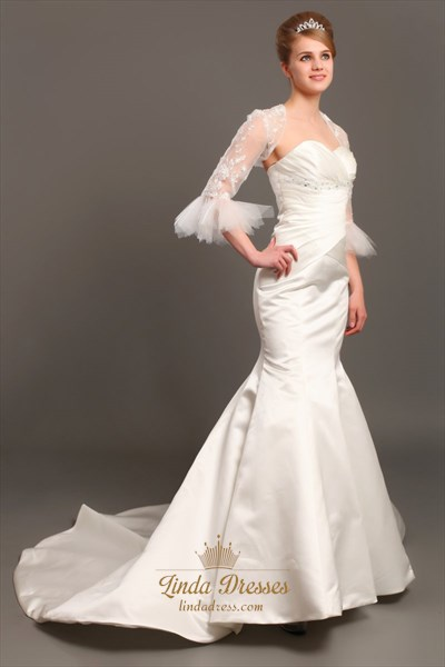 Ivory Sweetheart Strapless Mermaid Satin Wedding Dress With Lace Jacket