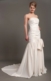 Ivory Strapless Mermaid Beaded Neckline Wedding Dresses With Long Train