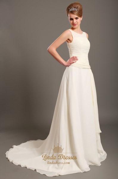 Ivory Chiffon Scoop Neck Drop Waist Wedding Gown With Ruffle Detail