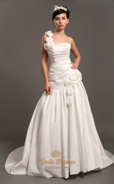 Ivory One Shoulder Mermaid Trumpet Taffeta Wedding Dresses With Flowers