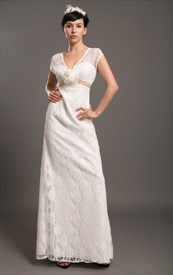 Ivory Lace V Neck Empire Waist Cap Sleeves Wedding Dresses Flower Belt