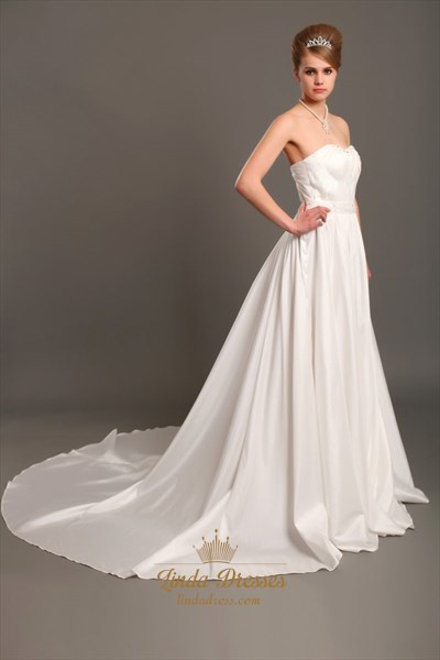 Ivory A Line Strapless Chapel Train Taffeta Wedding Dresses With Beading