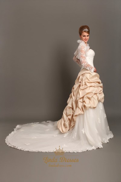 Ivory And Champagne Sweetheart Pick Up Wedding Dress With Lace Jacket
