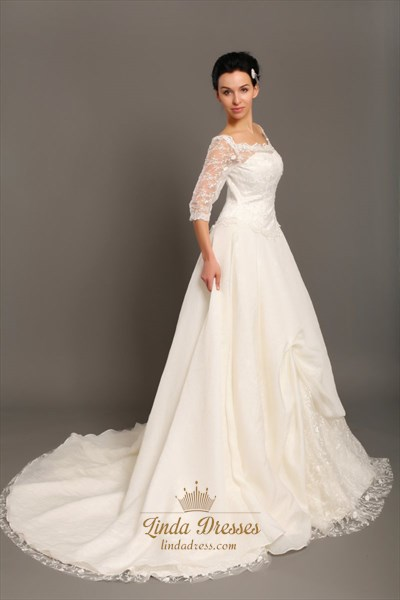 Ivory Off The Shoulder Taffeta Lace Top Wedding Dress With 3/4 Sleeves
