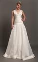 Ivory Organza V Neck Drop Waist A Line Wedding Dress With Applique
