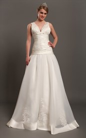 Ivory Organza V Neck Drop Waist A Line Wedding Dress With Applique