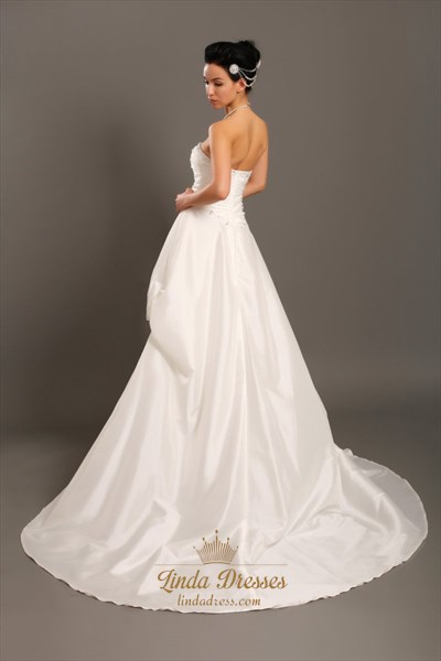Ivory Strapless A-Line Taffeta Pick Up Wedding Dresses With Beaded Lace