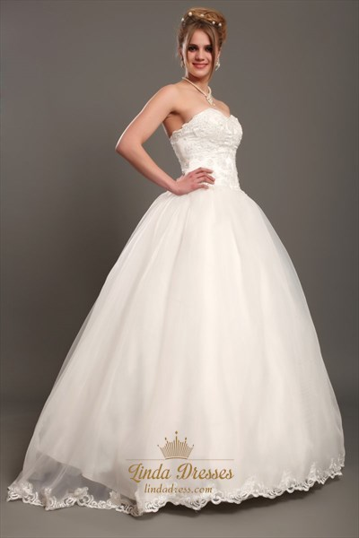 Ivory Lace Bodice Organza Skirt Sweetheart Wedding Dresses Without Train