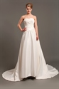 Show details for Ivory Taffeta Strapless Dropped Waist Wedding Dresses With Applique