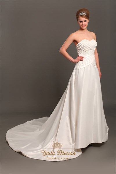 Ivory Taffeta Strapless Dropped Waist Wedding Dresses With Applique