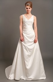Ivory Elegant A Line V-Neck Empire Waist Wedding Dresses With Beading