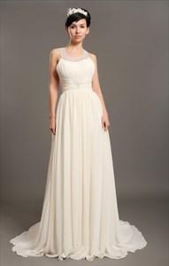 Ivory Chiffon Beach Beaded A Line Wedding Dresses With Jewelled Collar