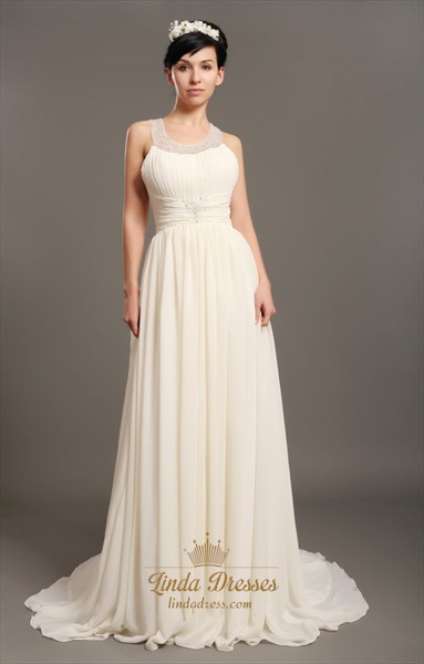 Ivory Chiffon Beach Beaded A Line Wedding Dresses With Jewelled Collar