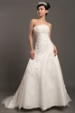 Show details for Ivory Strapless Organza Chapel Train Wedding Dresses With Lace Appliques