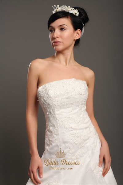 Ivory Strapless Organza Chapel Train Wedding Dresses With Lace Appliques