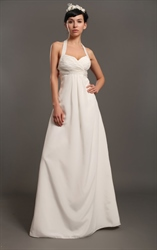Ivory Halter Neck Empire Waist Chiffon Wedding Dresses With Beading