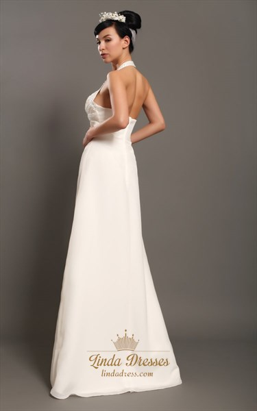 Ivory Halter Neck Empire Waist Chiffon Wedding Dresses With Beading