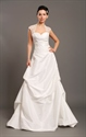 Show details for Ivory Taffeta Open Back Cap Sleeve Wedding Dress With Beaded Lace Inset