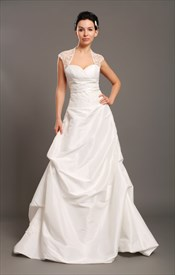 Ivory Taffeta Open Back Cap Sleeve Wedding Dress With Beaded Lace Inset