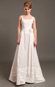 Ivory Taffeta Square Neck Sleeveless A Line Wedding Dress With Flowers