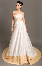 Ivory And Gold Strapless Taffeta Wedding Dresses With Lace Applique