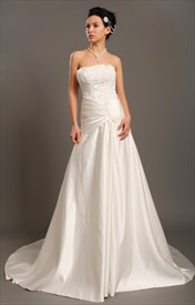 Elegant Ivory Strapless A Line Taffeta Wedding Dress With Beaded Lace