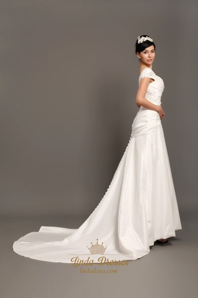Ivory Taffeta Cap Sleeve Wedding Dresses With Buttons All The Way Down