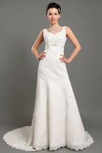 Ivory V Neck Empire Waist Lace A Line Wedding Dresses With Beaded Belt
