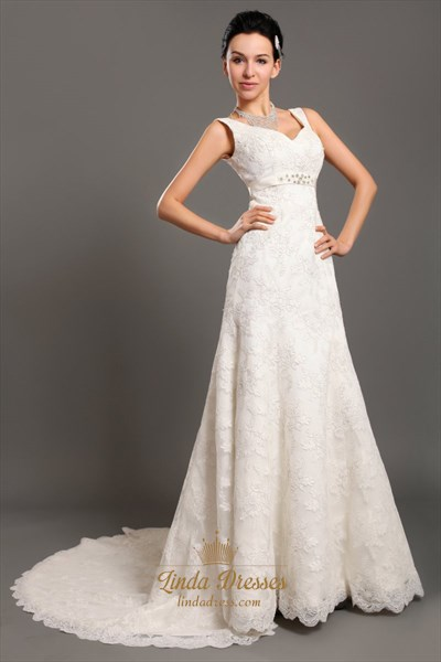 Ivory V Neck Empire Waist Lace A Line Wedding Dresses With Beaded Belt