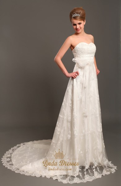 Ivory Lace Strapless Sweetheart Wedding Dresses Vintage With Flowers