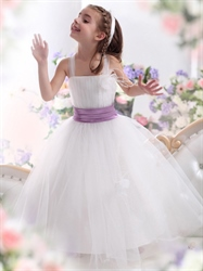Flower girl dresses linda dress white tulle purple sash flower girl dress with flowers and feathers mightylinksfo