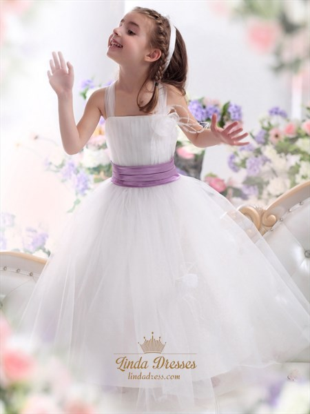 White Tulle Purple Sash Flower Girl Dress With Flowers And Feathers