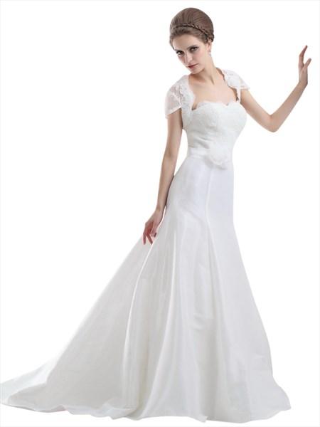 Ivory Strapless Flowers Embellished Mermaid Wedding Dresses Lace Jacket